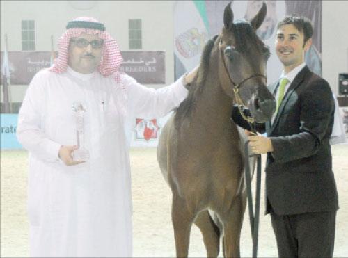 صورة ارشيفية - الأمير عبد العزيز بن أحمد مع المهر مناور عذبة